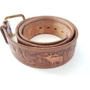 Pathfinder Hand Painted 100% Leather Belt Brown.